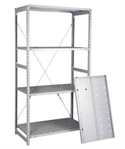 Перфорированный стеллаж металлический сборный 2500*760*400 (150 кг на полку) - фото 10393
