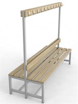 Скамейка для раздевалок с вешалкой двухсторонняя — CП-2В-1200 - фото 14053