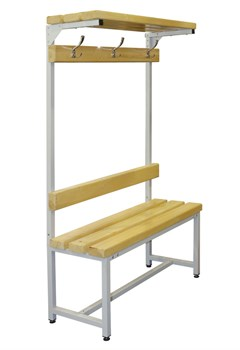 Скамейка со спинкой и вешалкой для раздевалок — CП-1В-Ш-1000 - фото 14058