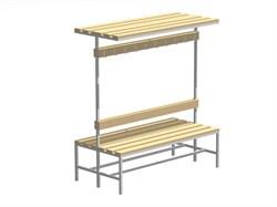 Скамейка для раздевалок с вешалкой двухсторонняя — CП-2В-Ш-1000 - фото 14083