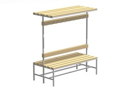 Скамейка для раздевалок с вешалкой двухсторонняя — CП-2В-Ш-1200 - фото 14084