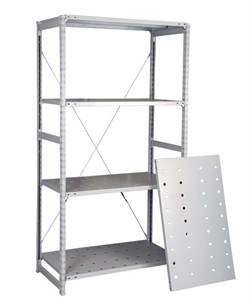 Перфорированный стеллаж металлический сборный 2000*1060*800 (300 кг на полку) - фото 14285