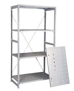Перфорированный стеллаж металлический сборный 2000*1060*400 (300 кг на полку) - фото 14287