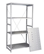 Перфорированный стеллаж металлический сборный 2500*1060*400 (300 кг на полку)