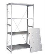 Перфорированный стеллаж металлический сборный 2500*760*400 (300 кг на полку)