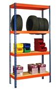 Стеллаж для гаража металлический сборный 2000*1265*655 усиленный КРЕПЫШ (4 ПОЛКИ)